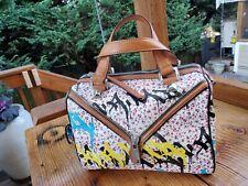 L.A.M.B. Gwen Stefani Graffiti Multicolor Canvas  Leather Tote Purse Bag