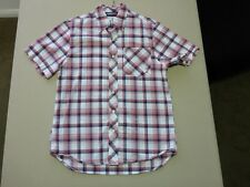035 MENS NWOT ZOO YORK WHITE / RED / NAVY FADE CHECK S/S SHIRT SML $100.