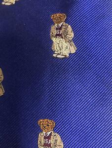 Ralph Lauren Polo 100% Silk Neck Wide Tie Preppy Bear Blue USA Handmade NWT