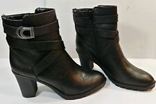 "LifeStride Velocity Soft Black Belted Ankle Boots 3"" Chunk Heels Women's 9M NEW"