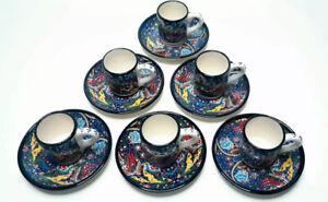 Hand Painted Turkish Ceramic Espresso Cups & Plates. Coffee Set. 12 pieces Set