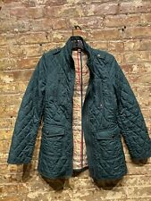Authentic Burberry Brit Womens Forest Green Quilted Check Jacket Coat S