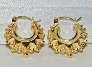 9CT GOLD ON SILVER CHILDREN'S / BABY GYPSY STYLE CREOLE EARRINGS