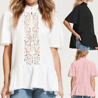 Womens Short Sleeve Bohemia Lace Blouse Shirt V Neck Baggy Loose Tunic Tops Plus