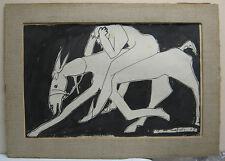 Jean Crozals '48 Modernist Ink Ptg of Horse and Rider Listed Brut School Artist
