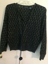 Sweater Black Sparkle Tassle L Moda Int'l EUC