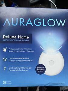 "AURAGLOW Deluxe Home TEETH WHITENING KIT . "" UNOPENED BOX ""  EXP :  09 / 2022"