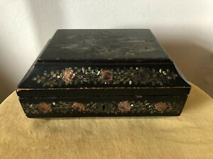 Vintage Chinese Oriental Black Lacquer Box with Mother Of Pearl design