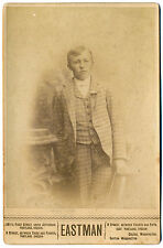 1880-1889 Portland, Or Languid Young Man in Plaid Suit Eastman Cabinet Photo