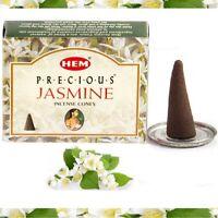 Encens Jasmin Précieux Indien HEM  Boîte de 10 Cônes d'Encens + Porte-Encens