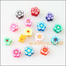 35 New Charms Handmade Polymer Fimo Clay Star Flower Flat Spacer Beads Mixed 8mm