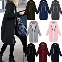Warm Winter Lady Long Sleeve Hooded Cardigan Zip Up Jacket Coat Plus Size S-5XL