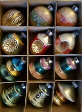 12 Vintage Mercury Glass Ornaments With Box & Lid