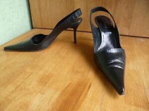 OXMOX, High-Heels Echtleder Sling-Pumps, getragen
