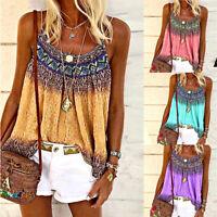Women Summer Loose Casual Vest Tank Tops Sleeveless Boho Printing T-Shirt Blouse