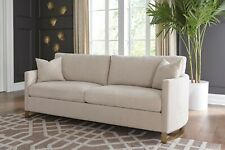 BEIGE TEXTURED CHENILLE SOFA WITH STYLISH BRASS RING LEGS LIVING ROOM FURNITURE