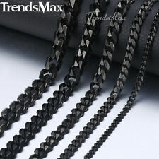 Black Tone Stainless Steel Necklace for Mens Boys Curb Cuban Chain 3/5/7mm