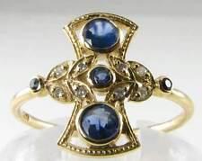 "CLASS 9CT 9K GOLD BLUE SAPPHIRE & DIAMOND ""FAN"" ART DECO VICTORIAN INS RING"