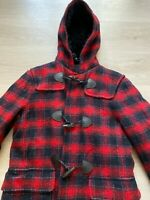 PRADA Duffle Wool Check Red Black Hooded Coat Jacket Sz - IT 46 / UK 14 / US 10