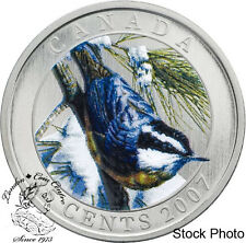Canada 2007 25 Cents Red-Breasted Nuthatch Coloured Coin