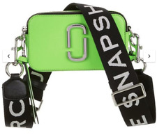 BNWT Marc Jacobs Fluorescent Snapshot Logo-Strap Bright Green Leather Camera Bag