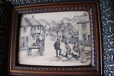 FAUX SCRIMSHAW  PICTURE OF LATE 19th CENTURY VILLAGE STREET SCENE IN NICE FRAME.