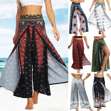 Women Baggy Yoga Wide Leg Pants Cut Split Palazzo Flared Casual Floral Trousers