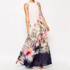 Lady Women Floral Summer Beach BOHO Party Evening Long Chiffon Dress Sundress
