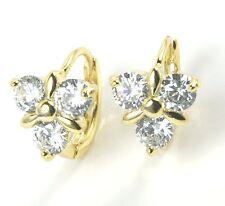Women's 18 Carat Gold Plated Crystal Flower Huggie Earrings Jewellery