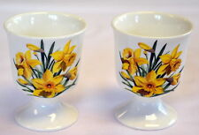 Welsh Daffodil design china EGG CUPS - set of 2 ,  Wales/Cymru