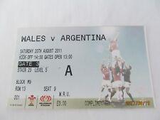 Gales V Argentina, Rugby Unión. boleto. 20th agosto de 2011