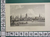 c1820 SMALL ANTIQUE PRINT ~ VIEW OF OXFORD FROM THE MEADOWS