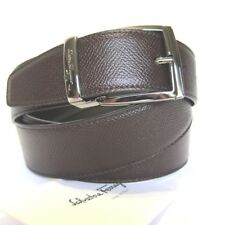B-360126 New Salvatore Ferragamo Brown Leather Chrome Buckle Size 42 Fits 40