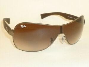 New RAY BAN Shield Sunglasses Matte Gunmetal Frame RB 3471 029/13 Gradient Brown