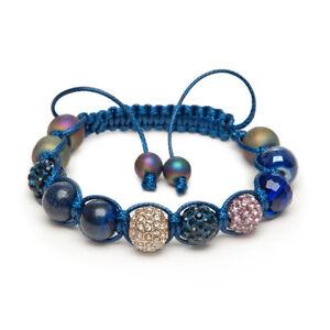 Shamballa Gemstone Bracelet Lapis Lazuli Gold Micro Pave Hematite Crystal UK