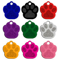20pcs/lot Paw Shape Dog ID Tags Blank Aluminum Nameplate No Engraving 9 Colors