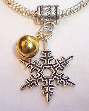 Snowflake Gold Jingle Bell Christmas Dangle Charm fits European Bead Bracelets