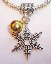 Snowflake Gold Jingle Bell Christmas Dangle Charm fits European Bead Bracelets