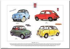 FIAT 500 (1957-72) - Fine Art Print - 500L, Nuova Multipla & 600 city car images