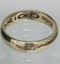 Welsh Clogau 9ct yellow Gold Diamond Band Ring CARIAD Size R