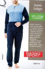 PIGIAMA UOMO RAGNO MANICA LUNGA PANTALONE LUNGO IN COTONE TG. 48 AZZURRO/BLU