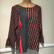 NIC + ZOE Black/Brown/Red Print Long Sleeve Tunic Top - Size M
