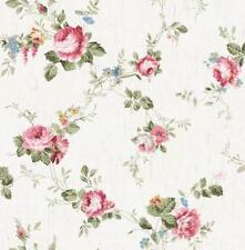 Wallpaper Designer Victorian Floral Vine Cottage Roses Faux Crackle Background