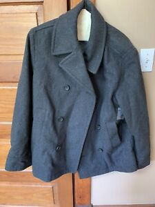 Merona Wool Button Down Pea Coat Mens Large