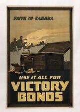 Original Wwi Vintage Poster Faith In Canada Victory Bonds World War I Propaganda