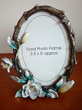 floral ceramic and metal  photo frame brand new