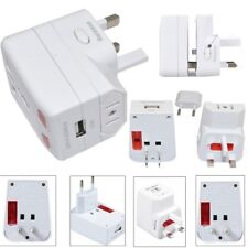 Universal World Travel Adapter USB Convertor w/ Surge Protector EU US UK AU Plug
