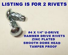 """DRIVE RIVETS #4x1/4"""" FOR ID DATA PLATE MOUNTING SMOOTH HAMMER HEAD TAMPER PROOF"""