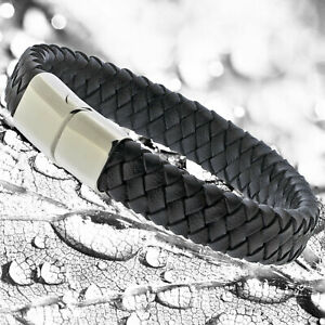 Mens Black Genuine Flat Leather Braided Wristband Bracelet Stainless Steel Clasp
