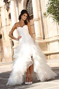 Chic Brautkleid vorne kurz hinten lang m.Schleppe Rüschenrock Perlen Weiß